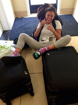 """""""The struggle of being a crazy bag lady on tour"""" - Oakland, California - August 4, 2015 Courtesy hayley.erbert IG"""
