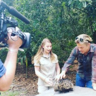 """An absolute pleasure filming with these two today and the animals #bindisueirwin #derekhough"" - December 2015 Courtesy itchyfeetmedia IG"