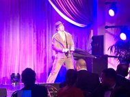 """#Singin'IntheRain @derekhough performs famous number @WeinsteinFilms bash @MontageBH @StephenMear choreographed"" - February 27, 2016 Courtesy BazBam twitter"