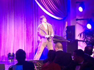 """""""#Singin'IntheRain @derekhough performs famous number @WeinsteinFilms bash @MontageBH @StephenMear choreographed"""" - February 27, 2016 Courtesy BazBam twitter"""