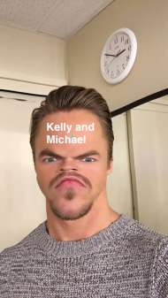 Derek backstage on Kelly & Michael - February 17, 2016 Courtesy derekhough snapchat