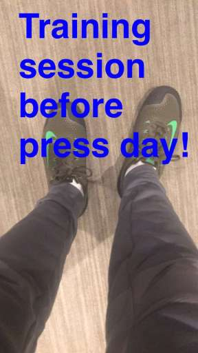 Derek getting ready for the day and his first interview on Kelly & Michael - February 17, 2016 Courtesy derekhough snapchat