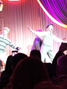 """""""Derek Hough (far left) performing Moses Supposes from upcoming Broadway show Singin' in the Rain at Weinstein party."""" - February 27, 2016 Courtesy MaryGreen1969 twitter"""