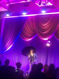 """Derek Hough doing the title song from 'Singin' in the Rain.' #WeinsteinParty "" - February 27, 2016 Courtesy RaminSetoodeh twitter"