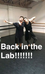 Derek and Travis during the rehearsals of a project they work together - April 11, 2016 Courtesy derekhough snapchat