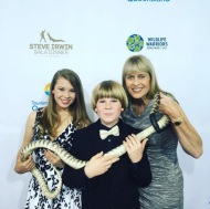 """With my beautiful mum and gorgeous little brother on the red carpet at the #SteveIrwinGalaLA I'll be keeping you up to date throughout the event ~ Bindi"" - May 21, 2016 Courtesy australiazoo IG"
