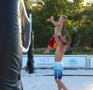 """Uncle @derekhough teaching Quaid some sand volleyball skills"" - July 20, 2016 Courtesy randallwise twitter"