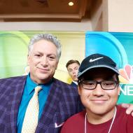 """Celebrity photobomb by #DerekHough! #harveyfierstein and #PPLA videographer #edwardbatres #presspassla"" - August 2, 2016 Courtesy: presspassla IG"