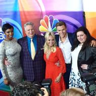 """The full cast of #hairspraylive! #derekhough #harveyfierstein #kristinchenoweth #jenniferhudson"" - August 2, 2016 Courtesy: presspassla IG"
