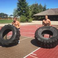"""@derekhough and I crushing some tire flips this morning! This is one of the best full body exercises you can do to train overall strength and coordination! Plus it's just fun to chuck heavy/awkward objects around, enjoy!!"" - August 16, 2016 Courtesy brookslaich IG"