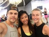 """Post #MOVEInteractive sweat sesh with the Hough sibs! @derekhough, @juleshough, & @iamjjdancer seriously kicked my toosh! You can't tell, but I was dyyying. I'm actually blacked out here. If Julianne hadn't posted up in front of me during class, I def would've faceplanted straight to the floor out of pure exhaustion... All joking aside, I'm always so grateful to meet great individuals with good hearts who build & lift up the community. Thanks for this inspiring movement, you two! ❤️"" - August 23, 2016 Courtesy cherylachico IG"