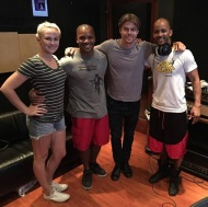 """STUDIO FLOW New #stepping project with @derekhough on deck thanks @kelseymccowan @caleyandkelsey . Yes, he picks up fast! #talent #genekelly #bodypercussion #bodymusic #dancingwiththestars #Molodi #GimmeSomeMO"" - August 15, 2016 Courtesy jnious IG"