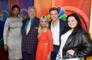 """The #HairsprayLive cast stepped out for the TCA tour today! #JenniferHudson #HarveyFierstein #KristinChenoweth #DerekHough #MaddieBaillio"" - August 2, 2016 Courtesy justjared IG"