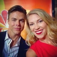 """Thank you @derekhough for being so sweet and making my day during a long shift! #throwback photo from the @nbctv #redcarpet can't wait for @nbchairspraylive and @dancingabc this fall!! #busiestmaninshowbiz #dancingwiththestars #hairspray #dancewithme #choreographer #emmywinner #MOVEinteractive 💃🏼⭐️🎬🎙📺❤️"" - August 2, 2016 Courtesy keetinmarchi IG"