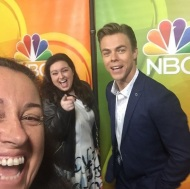"""Fun times with #derekhough and #maddiebaillio at #nbc #tca #beverlyhilton #beverlyhills #hairspraylive"" - August 2, 2016 Courtesy ninaprommer IG"