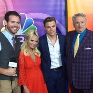"""Our host @ryanhooks92 getting the scoop from the #HairsprayLive cast #kristinchenoweth #derekhough #harveyfierstein"" - August 2, 2016 Courtesy presspassla twitter"