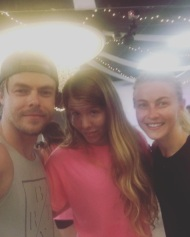 """Selfie with @derekhough and @juleshough two of the most inspiring people I have ever met in my life. Can't even begin to describe just how talented and beautiful these two people are inside and out. Thank you so much for being the incredible people you are and for taking the time to inspire others. You rock!"" - August 23, 2016 Courtesy therealashleynicole IG"