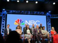 """Last panel for today at the NBC Universal #TCA Summer Press Tour: Hairspray Live with such an amazing cast including Derek Hough, Ariana Grande, Harvey Fierstein, Jennifer Hudson and Kristen Chenoweth. Just announced: Sean Hayes and Rosie O'Donnell as the gym teacher have been added to the cast. Hairspray Live airs December 7, 2016. Heading over to the NBC cocktail party now."" (Courtesy Kathy Duliakas)"