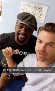 "Derek and Blair ""Give Back Project"" - September 3, 2016 Courtesy Derek Hough Snapchat"