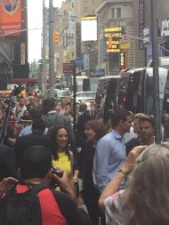 """Cheryl Burke, Derek Hough & Marilu Henner exiting GMA this morning! #Dwts"" - September 7, 2016 Courtesy dancing_man0709 twitter"