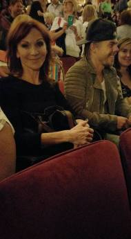 """Sitting right behind us!! Mary Lou Henner and Derek Hough...... they are partners on Dancing with the Stars"" - September 7, 2016 Courtesy lauri kronthal malin facebook"
