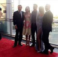 """Maddie on the dizzy feet dance foundation gala carpet with Nigel, Julianne and Derek Hough!!"" - September 10, 2016 Courtesy thedancemomslounge IG"
