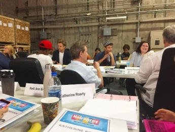 """""""And the family gets bigger! More rehearsal fun @nbchairspraylive #TableRead #HairsprayLive #NBC #NicestKid #Tracy #Edna #Wilbur #Link #Corny #Seaweed #NYtoLA"""" - October 20, 2016 Courtesy _silentroar IG"""