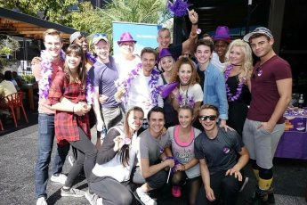 """""""We can't stop the beat! The cast of #hairspraylive joined in the #spirtday fun to take a stand against #LGBT youth bullying. #prideNBCU"""" - October 20, 2016 Courtesy outnbcuniversal twitter"""