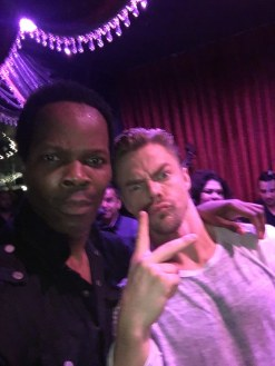 """""""Three Stars Dancing With The Stars Stars having a blast on set with Derek Hough and Brian Fortuna"""" - October 10, 2016 Courtesy real michael facebook"""