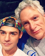 """Trying to find the good lighting in the rehearsal stage with @HarveyFierstein theharveyfierstein (idk where I thought the lens was LOL)"" - October 25, 2016 Courtesy Garrett Clayton Facebook"
