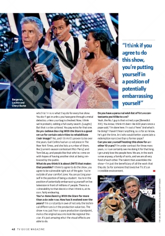 Tom's interview on TV Guide after the premiere of Season 23 of Dancing with the stars Courtesy: TV Guide (October 3, 2016 issue)