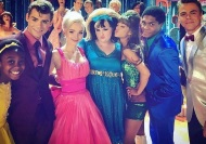 """Starting to come together with these awesome humans. @ephsykes @arianagrande @maddiebaillio @dovecameron @garrettclayton1 #hairsprayLive All the photobombs in the back 😂"" - November 13, 2016 Courtesy derekhough IG"