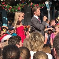 """Derek and Julianne Hough filming at the Magic Kingdom today!! #celebsighting #DisneyWorld #DerekHough #JulianneHough #Disney #vacation #MagicKingdom"" - November 12, 2016 Courtesy dirty_del_yo IG"