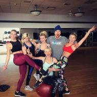 """Family that workout together, sweat together.... wait, what?! Seriously though, my sister @shareewise seriously knows how to kick some major booty (literally). We took her ""Rock Bottom"" and ""Cardio Kickboxing"" classes today! All the while, all my sisters and momma are wearing my @mpgsport collection (I was being festive with my leggings, but my sports bra is from my spring 2017 collection. Love love love my family!!!!! 💪🏼❤"" - December 28, 2016 Courtesy juleshough ig"