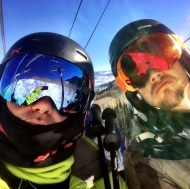 """@derekhough and I bombing the slopes!"" - December 29, 2016 Courtesy michaelpoole47 IG"