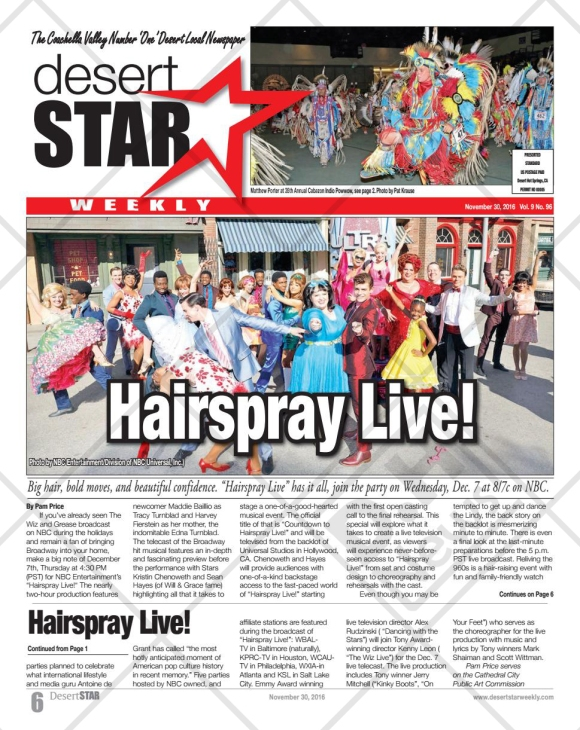 "Hairspray Live! featured on the newspaper ""Desert Star Weekly"" from Palm Springs - November 30, 2016"