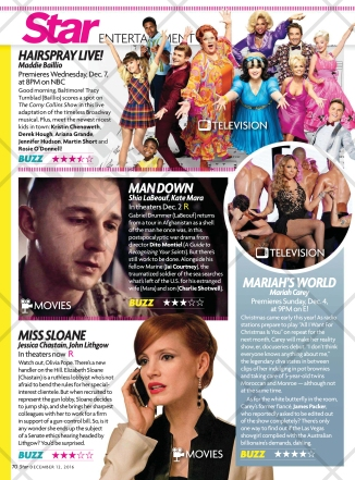 Star Magazine features Hairspray Live! on its December 12, 2016 issue