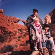 """#fbf flashback Friday? Or should I say FASHION Friday... look at that snazzy faux fur that I had in Moab Utah back when I was prob 5 yrs old! That was my all time favorite coat! Even derek saw this picture and said... oh my gosh I remember that coat! Before saying anything about the beautiful red rocks behind us! #fashion #mymetballlook #houghfamily #adventures"" - January 6, 2017 Courtesy juleshough IG"