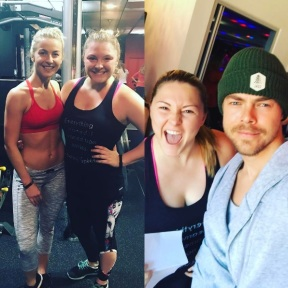 """So this happened today! Not only did I get to meet @juleshough and @derekhough but I also got my butt kicked in an awesome work out! These two are absolutely amazing and just as sweet as can be. Also Derek and I look pretty good together 😍 #moveinteractive @markpulse gets a shout out too! Thanks for everything! #dreamscometrue"" - January 14, 2017 Courtesy thealexislemos IG"