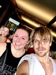 """Can we please take a moment to acknowledge this man still smelled amazing after we just sweat our butts off! @derekhough #moveinteractive"" - January 21, 2017 Courtesy thealexislemos twitter"