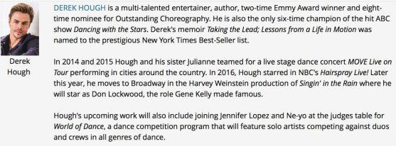 Derek Hough's bio for the Choreography Night - Emmy - TV Academy