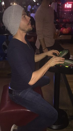 Derek during a bowling night with Hayley, Sasha, Emma & friends - February 18, 2017 Courtesy hayley.erbert IG