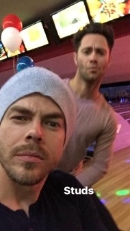Derek and Sasha during a bowling night with friends - February 18, 2017 Courtesy hayley.erbert IG