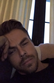 Derek relaxing at home after a long day - February 6, 2017 Courtesy derekhough IG