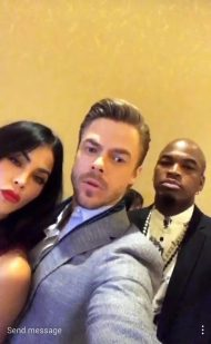 "Derek, Jenna and Ne-Yo before the panel of ""World of Dance"" for the NBC Press Day - March 20, 2017 Courtesy derekhough IG"
