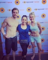 """Awesome hot yoga class today with @juleshough and @derekhough at #corepoweryoga ! Love trying new ways of being active! #evolution_of_e #MOVEinteractive #healthylife"" - March 11, 2017 Courtesy evolution_of_e IG"