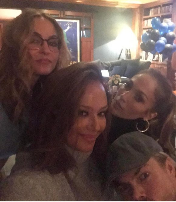 """Good times with these folks @jlo @derekhough @dreadematteo @derekhough #shadesofblue"" - March 5, 2017 Courtesy leahremini IG"