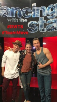 "Derek with Tabitha and Kyle on Dancing with the Stars before his ""Unsteady"" performance with Julianne - April 3, 2017 Courtesy Nappytabs IG"