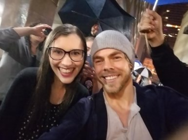 """""""THANK YOU BOTH FOR COMING OUT TO TAKE PICTURES WITH US EVEN THOUGH IT WAS POURING DOWN RAIN 💕 I LOVE YOU SO MUCH @derekhough @juliannehough"""" courtesy @HANNAHALMlGHTY TW"""