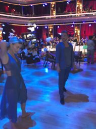 """I had to snap this fast but here's @juliannehough & @derekhough rehearsing tonight's #DWTS routine. #MoveLive"" - April 3, 2017 Courtesy abc7george twitter"